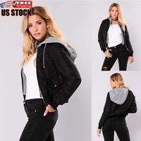 Women's Lightweight Hoodie Coat Ladies Casual Hooded Jacket Winter Warm Outwear