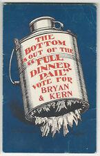 1908 William Bryan Empty Dinner Pail Postcard Version with Bryan & Kern's Names