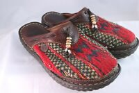Born Navajo Indian Blanket Wool Leather Beaded Clogs Mules Shoes Sz 6 36.5 W6538