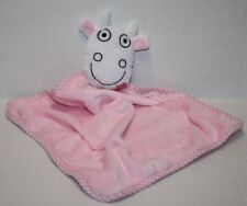 """COW SECURITY BLANKET PINK HEARTS Soft Toy Baby Lovey Flower Mouth 18"""""""