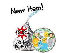 108 Jungle Safari Animals Birthday Party Baby Shower Hershey Kisses Stickers