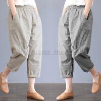 Jolie Femme Pantalons Loisir Taille elastique à rayures Décontracté lâche Plus
