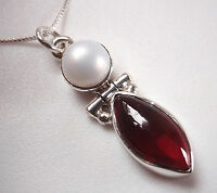 Cultured Pearl and Garnet 925 Sterling Silver Pendant Corona Sun Jewelry