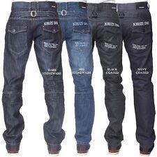 New KRUZE Mens Straight Regular Fit Denim Fashion Branded Trousers All Sizes