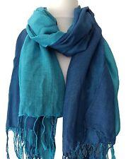 Blue Scarf Cotton Blend Turquoise Pashmina Wrap Fair Trade Ladies Shawl New Bnwt