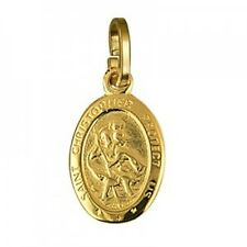 20% SALE! - Genuine 9Ct YG Sml Oval St Christopher Charm - RRP $129.95
