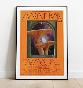 Grateful Dead Print, Grateful Dead Poster, Psychedelic Mushroom Print