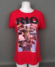 MNG By Mango NWT Women's Sz.XL T.Shirt-Top RIO Sequin Front-Red-100%Cotton