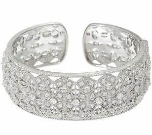 QVC Judith Ripka Sterling 3.40cttw Estate Diamonique 67.0g Cuff Bracelet $999