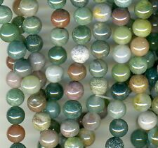 "FANCY AGATE natural stone 6mm Round Beads mixed hues 16"" strand"