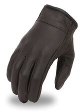 Men's Super Clean Light Lined Black Leather Motorcycle Riding Cruising Gloves