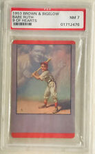 """1953 Vintage Brown & Bigelow """"BABE RUTH"""" 9 of Hearts - PSA 7"""