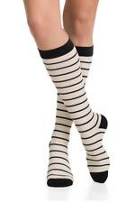 Vim & Vigr Women's Compression Socks  Nautical Stripes Black Cream Large