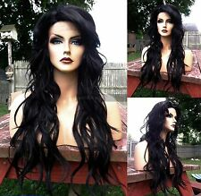 USA: Off Black Curly Heat OK LACE FRONT & Skin PART Long Wavy Wig
