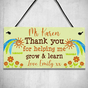 Personalised Thank You Teacher Help Grow Learn Gifts Leaving School Plaque Sign