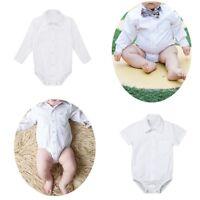 Infant Baby Boys Long/Short Sleeve Formal Shirt Romper Bodysuit Gentleman Party