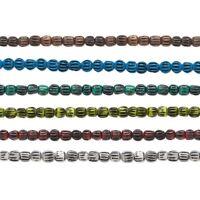 """Bone dyed corrugated barrel bone beads 5x4mm 16"""" strand, 100 dyed bone beads."""