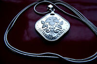 "Bahamas Hibiscus Square Coin Jewelry Pendant on 30"" 925 Silver Snake Chain"