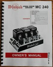 *USA* ULTIMATE MCINTOSH MC240 OWNER'S MANUAL Serial No 45G45