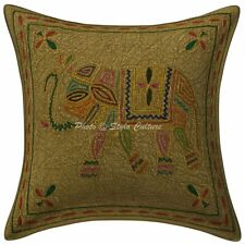 Decorative Cotton Elephant 16 Inch Gold Thread Embroidered Sofa Pillow Cover