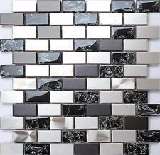 1m² Silver and Black Steel & Black Glass Brick Bathroom Mosaic Tile Sheet MT0137