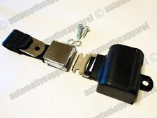 UNIVERSAL CHROME LATCH RETRACTABLE LAP CLASSIC STYLE BLACK SEAT BELT KIT RESTO
