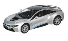 Kinsmart 1:36 Scale Bmw i8 2 Doors Coupe Diecast Toy Car Silver Pull back and Go
