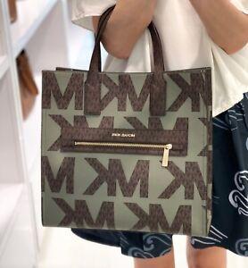 Michael Kors Kenly Large Tote Logo Signature PVC Bag Army Green Multi
