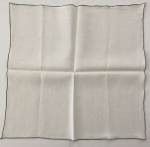 Vintage Set of 6 Linen Napkins White w/ Green Embroidered Trim, Good Condition