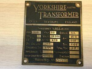 Vintage Brass Plaque Makers Plate -  YORKSHIRE ELECTRIC TRANSFORMER    (MJ1008)