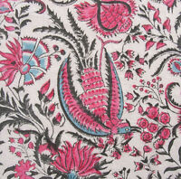 "Hand Block Printed, Cotton Fabric. 2.5 Yards, 42"" Wide. Birds of Paradise Rose"