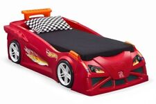 Step2 Hot Wheels Toddler-To-Twin Race Car Bed Toy Boys Red Bedroom w Lights