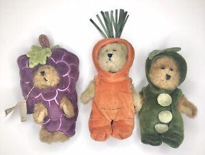 Boyd's Bears - Polly Pea Pod - Cari Carrot & Wilby Beardeaux Grapes - Lot Of 3