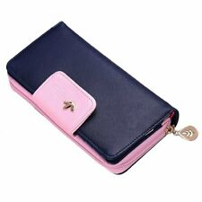 Women Lady Leather Wallet Clutch Long Purse Zipper Handbag Bag DarkBlue Fast US