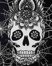 Black and White Halloween Tapestry Home Decor Skull Art Wall Hanging