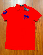 RALPH LAUREN Mens Custom Fit Cotton Dual Match Pony Polo Red L  NWT