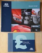 HYUNDAI RANGE 1995-96 UK Mkt prestige brochure + Price List - Sonata Scoupe etc
