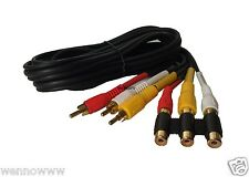 3 RCA Male to 3 RCA Female Audio Video Extension Cable ( 6 Feet )
