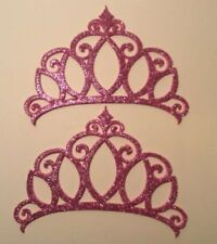 """Glitter Foam Pink Crowns Set of 20 Die Cuts 4"""" H Party Decorations"""