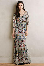 $375 ANTHROPOLOGIE CYNTHIA VINCENT NEW LEAF FLORAL SILK LINED MAXI DRESS Sz 4