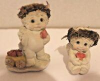 Lot 2 Dreamsicles Chalkware Cherub Angel Figurine w Valentine's Day Hearts EUC