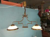 Deckenlampe Hängelampe Berlin Doppelt Glas Messing Verstellbar Jugendstil  36a5