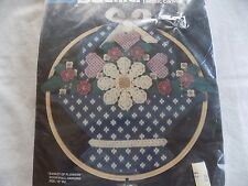 "Bucilla Basket of Flowers Door/Wall Hanging 10"" Rd Dick Martin Plastic Canvas"