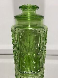 Vintage Canister Green Depression Colour L.E. Smith Company Atterbury Scroll