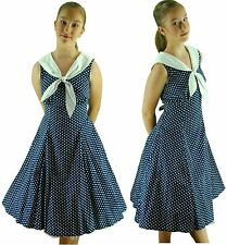 1950s Grease Rock n Roll Rockabilly Navy White Sailor Fancy Dress Costume -XS 8