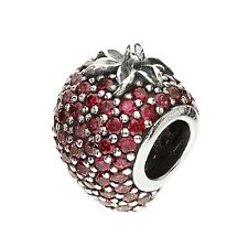 Authentic Pandora Silver Sterling Red Pave Strawberry Charm 791899CZR