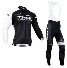 Trek Cycling Jersey Mens Long Sleeve + Bib Pants Set Winter Thermal Fleece
