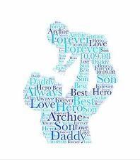 A4 Personalised Word Art Print ANY WordsColours Personalised Gift Daddy Grandad