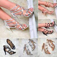 Ladies Strappy Heeled Sandals High Heel Metallic Shoes Open Toe Party Heels Size