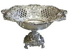 Silver Plated Fruit Bowl  Footed Pedestal Centerpiece Baroque Vintage Gift 9""